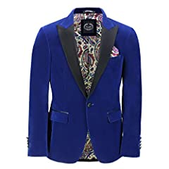 Tailored Fit Mens Classic Dinner Suit Jacket with Black Satin Peak Lapels Features Front Two Flap Pockets with Black Trim, One Chest Pocket, 4 Button Lined Cuffs, Single Vent in Back Beautiful Paisley Print Lining Interior with Pockets Please check o...