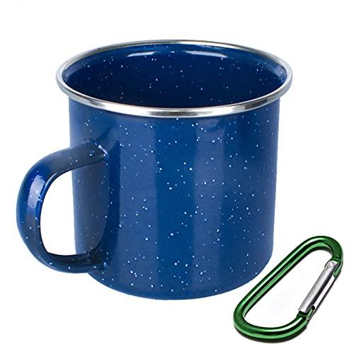 Camping-Tasse, Emaille, wiederverwendbar und tragbar, 330 ml, leicht, Camping-Kaffeetasse mit Karabiner (blau)