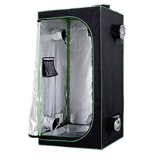 Outsunny Tenda da Coltivazione Idroponica in Mylar e Oxford 600D per Riflettere la Luce 80x80x160 cm