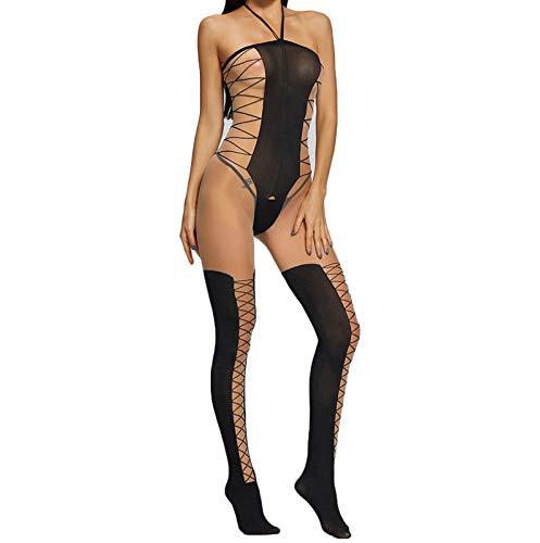 Lencería Sexy para Mujer Conjunto de Medias Transparentes de una Pieza Entrepierna Abierta Correas Cruzadas Sexy lencería Sexy tentación Pijamas pasión Babydoll