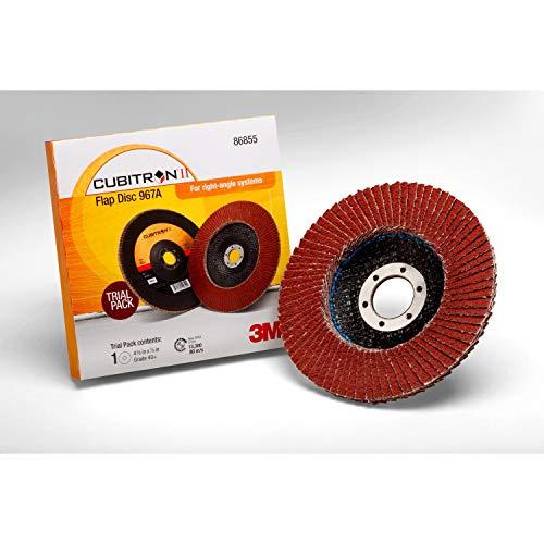 "3M Cubitron II Flap Disc 967A - 40+ Grit Ceramic Precision Shaped Grain - Type 27 Angle Grinder Disc - Metal Grinding - 4.5"" x 7/8"" Arbor Hole - 86855"