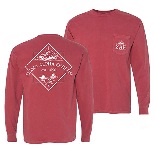 SAE Crimson Comfort Colors Long Sleeve Pocket Tee
