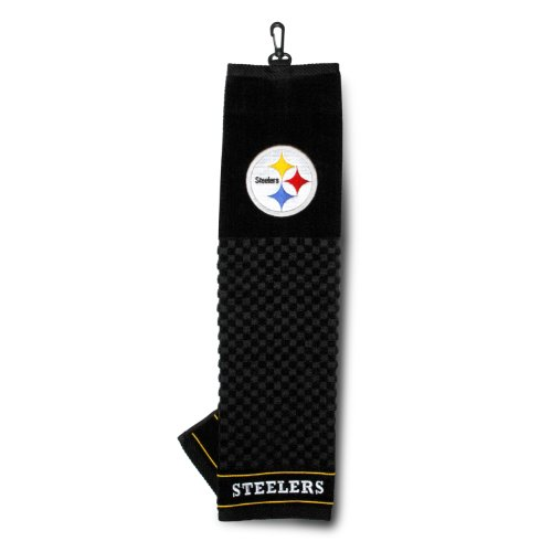 Team Golf NFL Pittsburgh Steelers Embroidered Golf Towel, Checkered Scrubber Design, Embroidered Logo