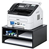 FITUEYES Large Printer Stands with 3 Storage Compartments, Desktop Paper Organizer for Home Office, 2-Tier Printer Riser Shelf, Black, 18.5' L x 15.7' W x 8.9' H, DO204701WB