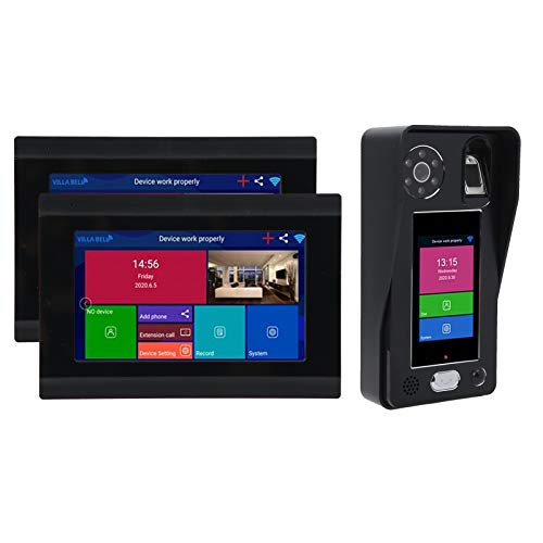 Timbre de video inalámbrico de 3.5 Ins 1080P, sistema de intercomunicación de timbre de videoportero con pantalla táctil de 2 7 pulgadas, desbloqueo de reconocimiento de huellas dactilares(EU)