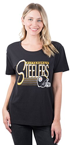 Ultra Game NFL Pittsburgh Steelers Womenss Scoop Neck Short Sleeve Tee Shirt, Team Color, Large