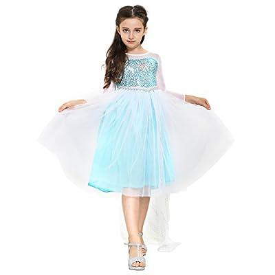 Katara - Disfraz de Elsa de Frozen vestido de princesa con capa y lentejuelas color azul/blanco - para niñas de 3-9 años - traje de carnaval o Cosplay