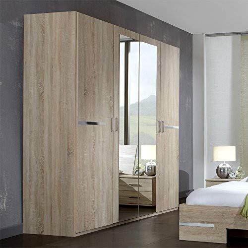 Wimex Kleiderschrank/ Drehtürenschrank Anna, 4 Türen, 2 Spiegel, (B/H/T) 210 x 58 x 180 cm, Eiche Sägerau
