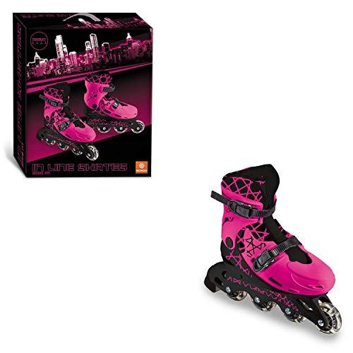 Mondo Mondo-28514 Toys-Girl in Line Skates-Pattini in Linea Regolabili-Ruote PVC-Roller Bambina-Size M/Mis. 33/36-28514, Colore RosaNero, 28514