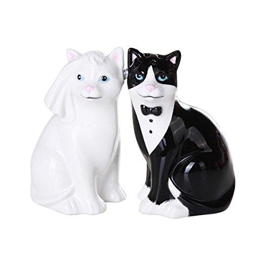 Wedding Cats Magnetic Ceramic Salt and Pepper Shaker Set