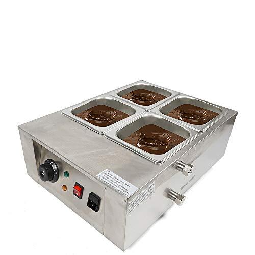 Wangkangyi Elektrische Edelstahl Schokolade Schmelzgerät Schmelzmaschine für Schokolade 1000W 4 Pot Schokolade Temperiergerät 30-80℃