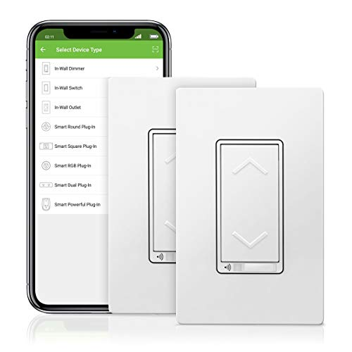 TOPGREENER Smart Dimmer Switch, UL Listed, Neutral Wire Required, Single Pole, No Hub Required, Works with Amazon Alexa and Google Assistant, TGWF500D 2 Pack