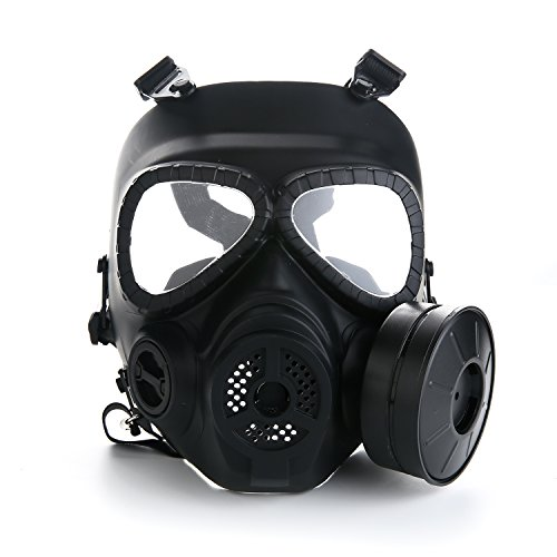 VILONG M04 Airsoft Tactical Protective Mask, Full Face Eye Protection Skull Dummy Game Mask with Dual Filter Fans Adjustable Strap for BB Gun CS Cosplay Costume Halloween Masquerade (Black)