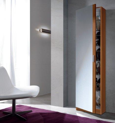 Habitdesign 007866C Armoire à Chaussures avec Miroir Marron180 x 50 x 20 cm