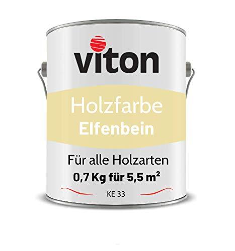 VITON Holzfarbe in Beige - 0,7 Kg Holzlack Glänzend - Wetterschutzfarbe für Innen und Außen - 2in1 Grundierung & Deckfarbe - Profi-Holzschutzlack - KE33 - RAL 1015 Hellelfenbein
