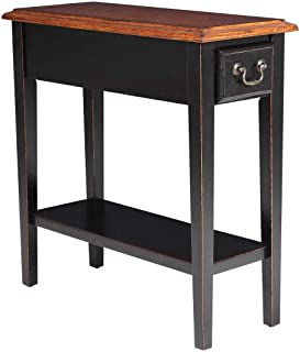 Phoenix Home Tilburg 2-Tone Wood End Table with Drawer and Lower Shelf, Charcoal