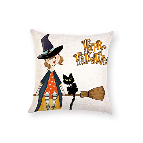 Z&HA Halloween Pillow Covers Witch Pumpkin and Crow Cotton Linen Throw Pillows Decorative Square Cushion Cover 18x18 Inches Pillowcase,H