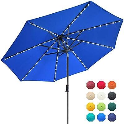 EliteShade Sunbrella Solar Umbrellas 9ft Market Umbrella with 80 LED Lights Patio Umbrellas Outdoor Table Umbrella with Ventilation and 5 Years Non-Fading Top,Royal Blue