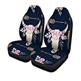 Semtomn Set of 2 Car Seat Covers Skull Watercolor Boho Pattern Deer Antlers Bohemian Western Ethnic Universal Auto Front Seats Protector Fits for Car,SUV Sedan,Truck