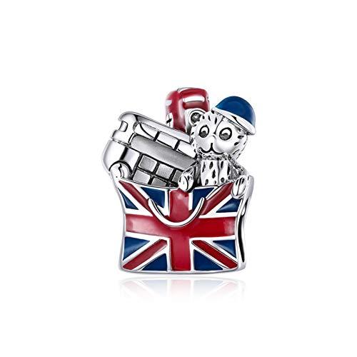 HMMJ Encantos Dangle Bead, S925 Sterling Silver Scenery British DIY Hecho a Mano Romántico Souvenir Pendiente para Pandora Troll Chamilia Charm Pulsera Collares