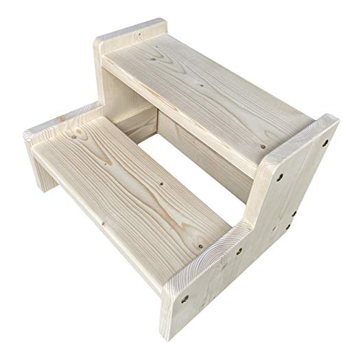 Taburete de escalera De Madera Taburete para Adultos, 2 Niveles Escalera de Cocina con Panel Antideslizante, Reposapiés de Madera Maciza para Baño/Salón/Dormitorio Taburete (Size : 50×40×45cm)