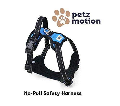 Petzmotion Sicherheits-Hundegeschirr, verstellbar, reflektierend, mit Griff, strapazierfähig, atmungsaktives Material … (Klein, Blau)