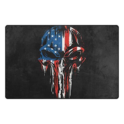 Mr.XZY Teppich mit Totenkopf-Motiv, amerikanische Flagge, für Schlafzimmer, rutschfest, für Wohnzimmer, Esszimmer, Wohnheim, Raumdekoration, Teppich, 152,4 x 99,1 cm, 2010946
