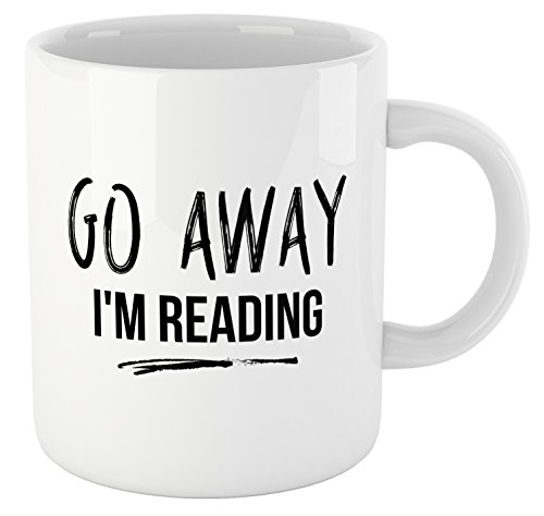 Book Lovers Reading Mug, BW Quote-GO AWAY, I'M READING! - Bookworm Gifts, Funny Bookish Coffee Mug, Reader Gift, Teacher Gift!