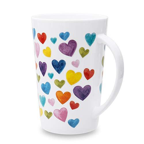Stonelainy Heart Shaped Mugs for Coffee Cute Ceramic Coffee Mug Heart Shaped Mug Colorful Bone China...