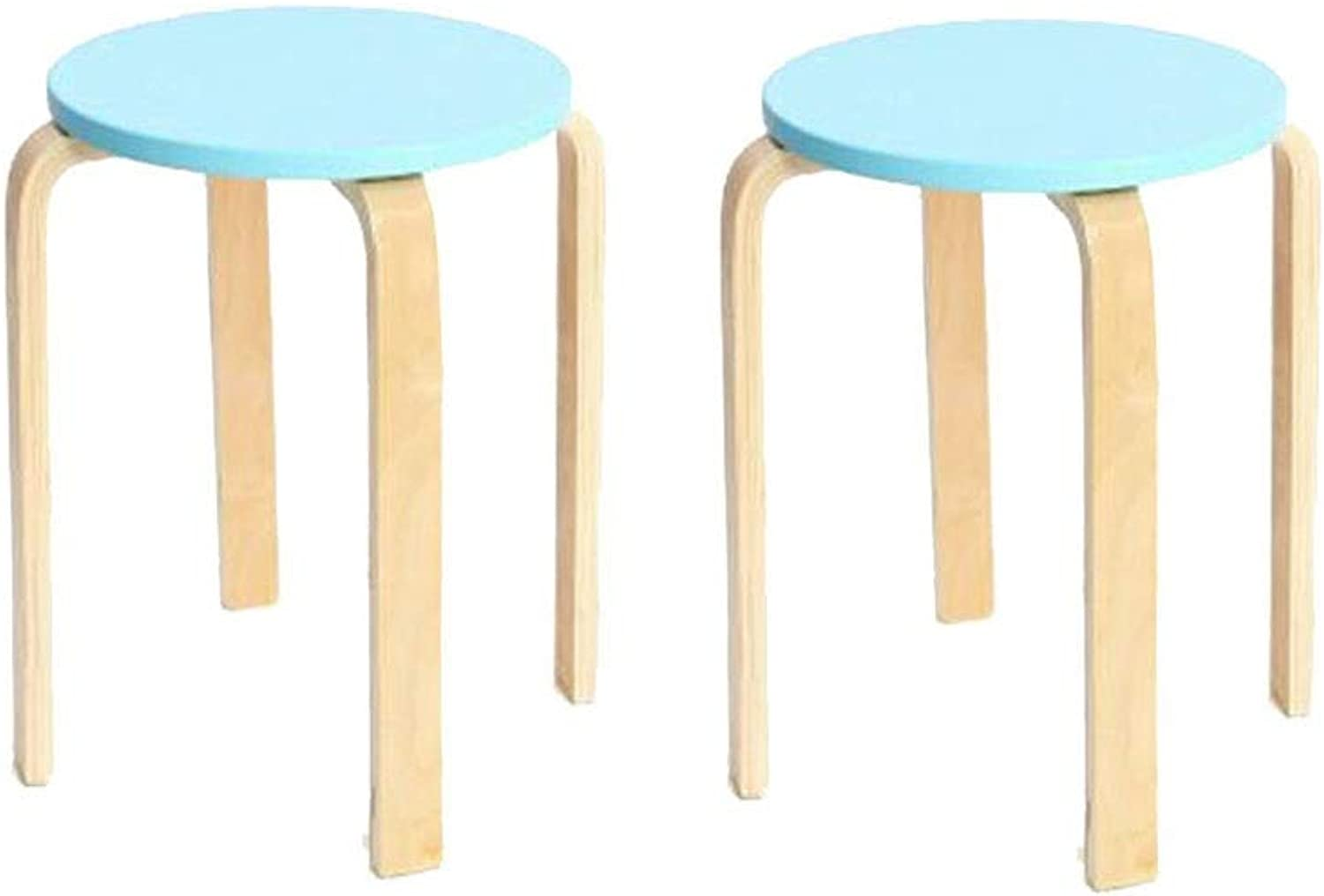 QIQI-LIFE Wooden Round Stool, Natural Bent Low Stool Candy color Chair Stacking Stool with 4 Legs and Anti-Slip Mat, 45  37cm (color   Lake bluee)