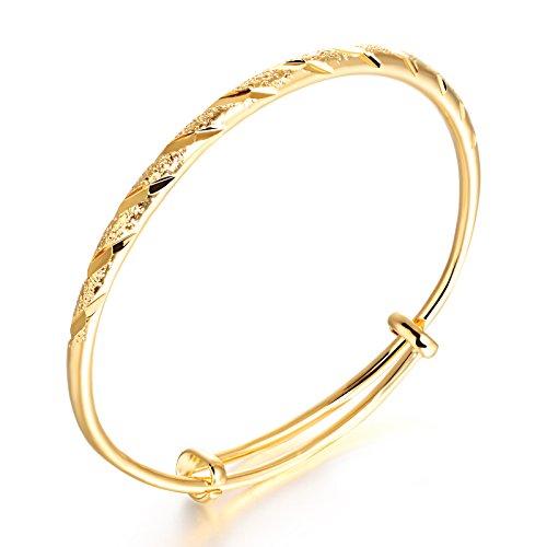 OPK Bracelet jonc en or 750/1000 pour femme Longueur ajustable Cuivre plaqué or 18 carats, Largeur 4 mm; longueur19 mm