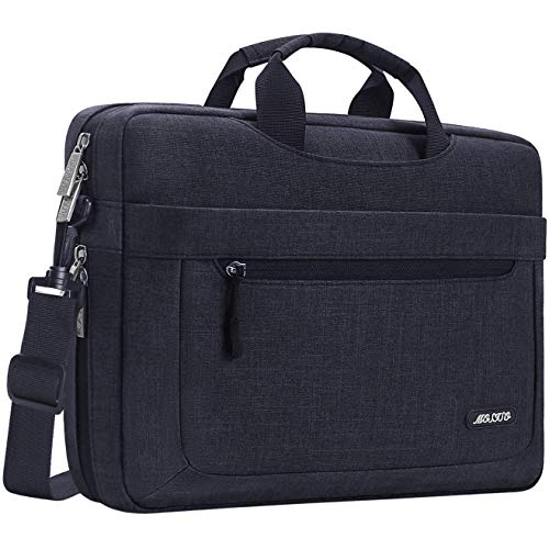 MOSISO Laptop Shoulder Bag Compatible with 17-17.3 inch MacBook/Dell/HP/Lenovo/Acer/Asus/Samsung/Sony, Polyester Messenger Carrying Briefcase Sleeve with Adjustable Depth at Bottom, Black