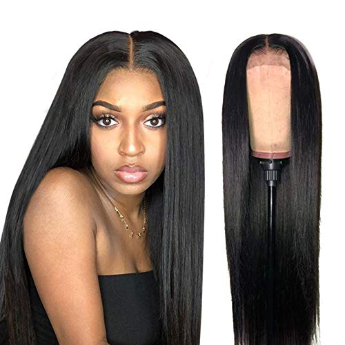 ISEE Hair Lace Front Wigs Human Hair Brazilian Straight Human Hair Wigs for Black Women 150% Density Pre Plucked with Baby Hair Bleached Knots Natural Color (13x4 Lace Front, 18inch)