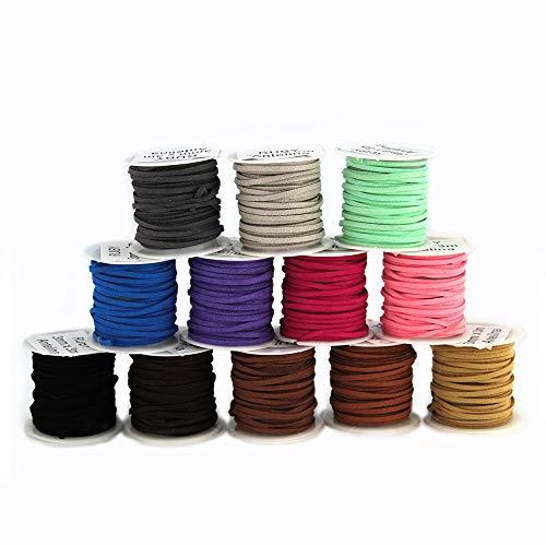 RUBY 12 Color Cuerda de Cuero Gamuza Cordón Bobina Cordon de Antelina de Ante para Pulsera Collar