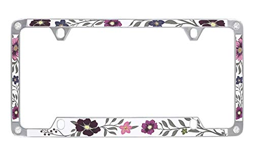 Baron-Jewelry Floral Design Pattern License Plate Frame with Sparkly Texture Vinyl and Swarovski Crystals. -  LFVIY8906-4H