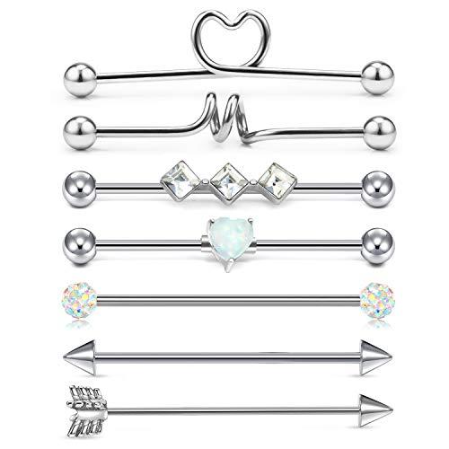 LAURITAMI Piercing Industrial Barbell 14G 38mm Acero Quirúrgico Scaffold Barra Larga Pendientes Cristal Corazón Joyas