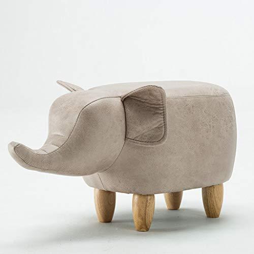 VFGDF Sofá Taburete Moda Creativa de Madera Maciza Forma Elefante Zapatos Especiales for niños Taburete de Cuero Taburete (Color : White Elephant)