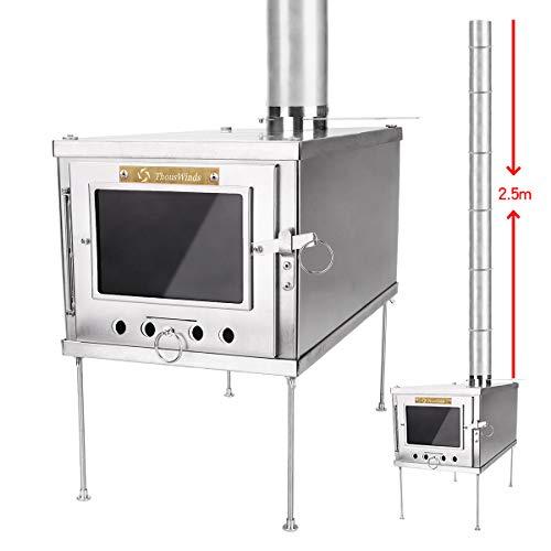 Thous Winds TW1008-B 薪ストーブ ストーブ 薪暖炉 と2.5mのチタン製煙突 軽量で組み立てが簡単で、キャンプやアウトドアに適しています