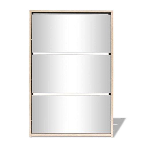 Ksodgun Zapatero con 3 Compartimentos, Espejo, Zapatero, recibidor, salón, Dormitorio, Aspecto Roble 63x17x102,5 cm
