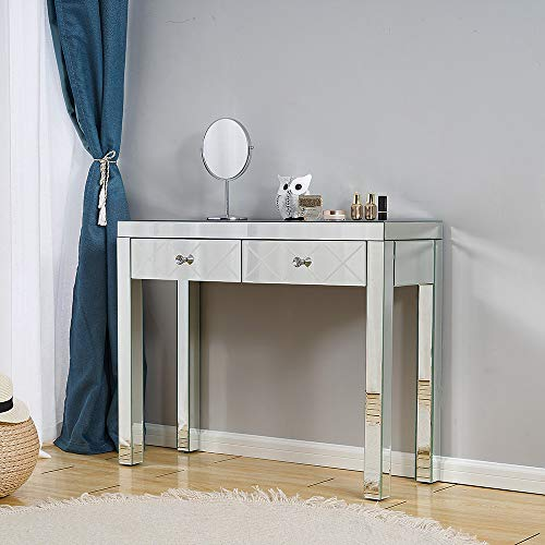 Mirrored 1/2 Drawers Dressing Table Vanity Desk Bedroom Furniture for Girls and Ladies Gift (Style4)
