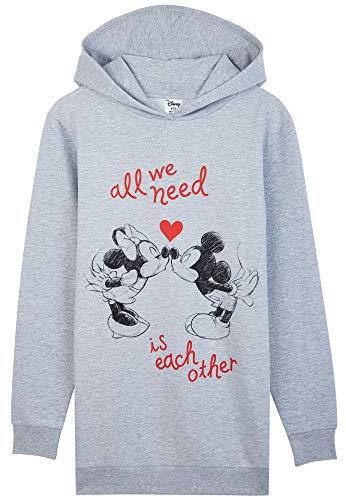 Disney Oversize Pullover Damen, Hoodie Damen und Teenager Mädchen, Hoodie Kleid Minnie und Mickey Mouse, Lang Sweatkleid Damen Baumwolle Sweatshirt (Grau, L, 16-18)