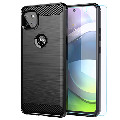 Moto One 5G ace case,Motorola one 5G ace Case with HD Screen Protector,M MAIKEZI Soft TPU Slim Fashion Non-Slip Protective Phone Case Cover for Motorola Moto one 5G ace (Black Brushed TPU)