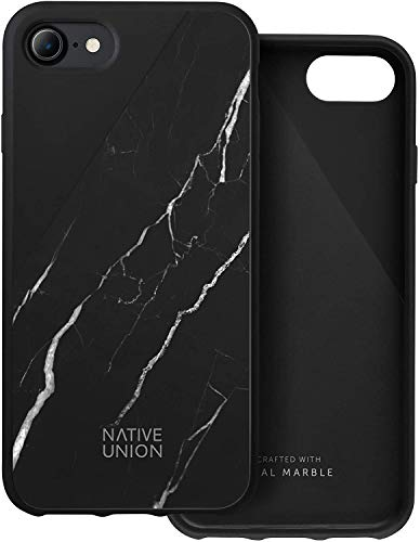 Native Union CLIC Marble Custodia - Cover Protettiva in Vero Marmo - Compatibile con iPhone SE 2020, iPhone 7, iPhone 8 (Nero)