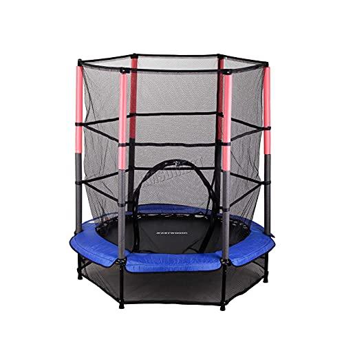 "WestWood GALACTICA NEW Mini Trampoline | 4.5FT 55"" with Safety Net Enclosure | Indoor Outdoor Children's Activity Junior Trampoline - Blue"
