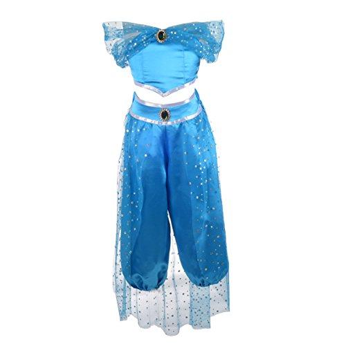 Lito Angels Ragazza Costume da Principessa Jasmine 2 Pezzi Vestito da Fancy Halloween Set di Vestiti Taglia 10-11 Anni