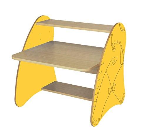 Mobeduc 600912HR17 Table Ordinateur Enfant/Primaire Bois hêtre/Jaune 80 x 80 x 75 cm