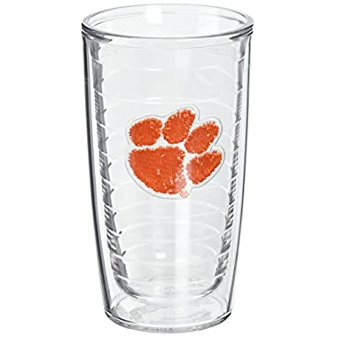 Tervis 1005837 Clemson University Paw Emblem Tumbler, Set of 2, 16 oz, Clear
