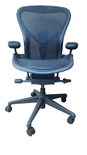 Herman Miller Aeron Ergonomic Office Chair with Tilt Limiter and Carpet Casters | Adjustable PostureFit SL, Arms, and Seat Angle | Medium Size B with Graphite Finish and Black Mesh