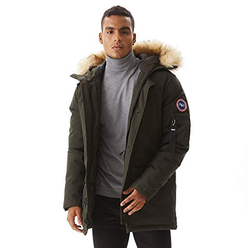 PUREMSX Men's Down Alternative Jacket Insulated Expedition Mountain Thicken Lined Fur Hooded Long Anorak Parka Padded Coat,Army Green,XXX-Large