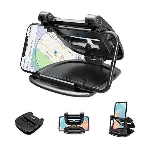 ipow Rotatif Support Téléphone Universel Voiture avec Silicone Collant,Porte Portable Auto sur Tableau de Bord,Compatible avec GPS/Smartphone-iPhone XS Max/XR/X/8 Plus/7,Samsung Galaxy Note 9/S9 Plus
